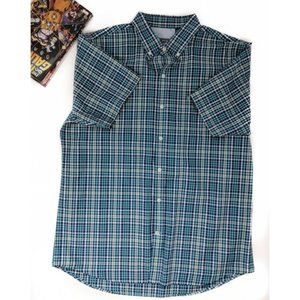 IZOD Blue Plaid Short Sleeve Button Down Shirt